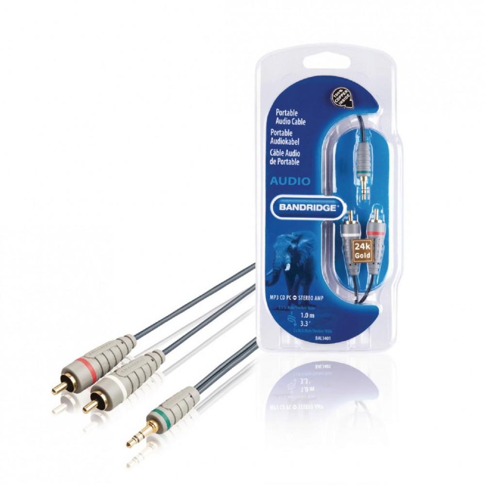 Cablu Audio Stereo Jack 3.5 T - 2XRCA 1M Bandridge BAL3401