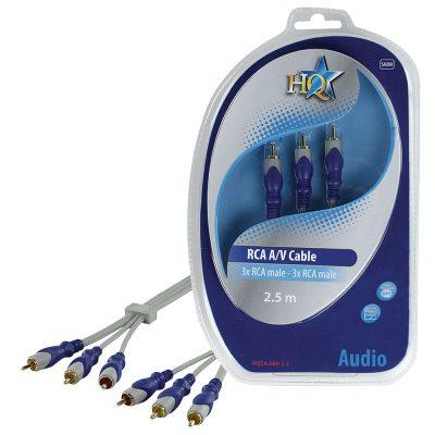 Cablu Audio Stereo 3 x RCA T - 3 x RCA T, 2.5M, High Quality HQSA-080-2.5