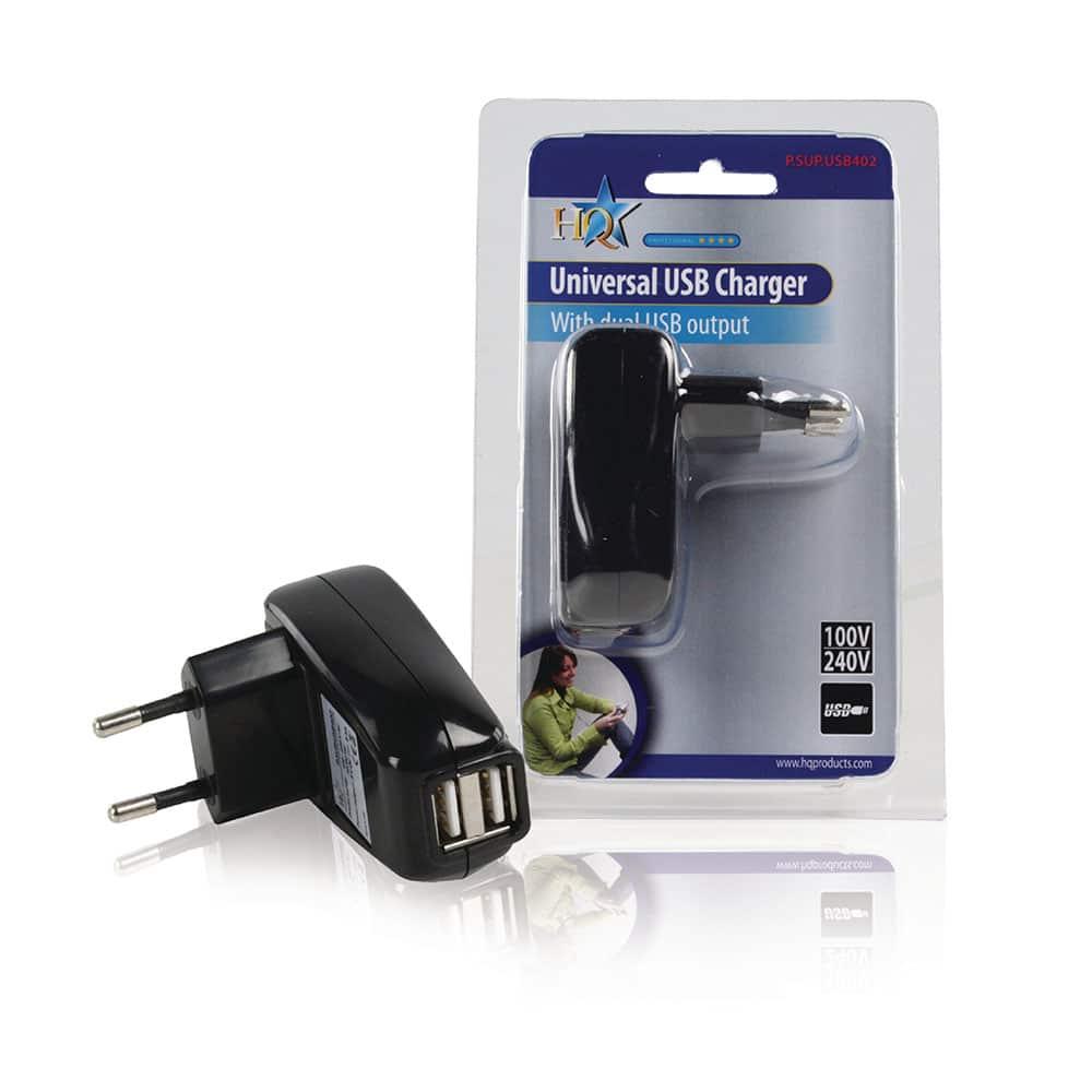 Alimentator Priza Dual USB High Quality P.SUP.USB402, 5V, 1A, Negru