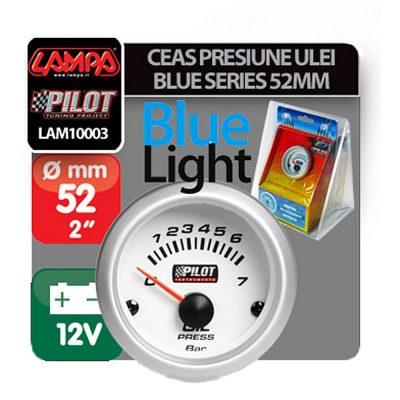 Manometru de Presiune a íileiului Pilot Instruments Blue-Light Series, 0-7, Illuminare Albastru