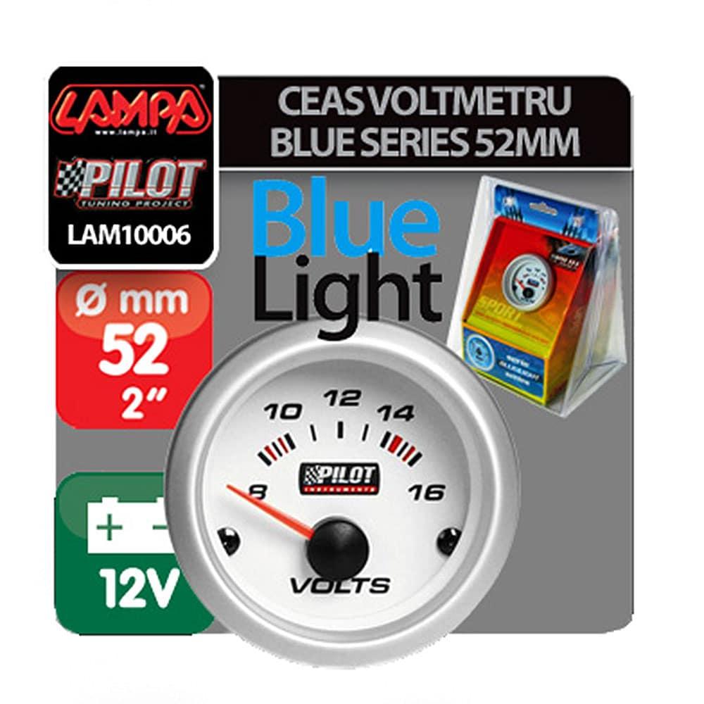 Ceas Voltmetru Pilot Instruments Blue-Light Series, 8-16, Illuminare Albastru