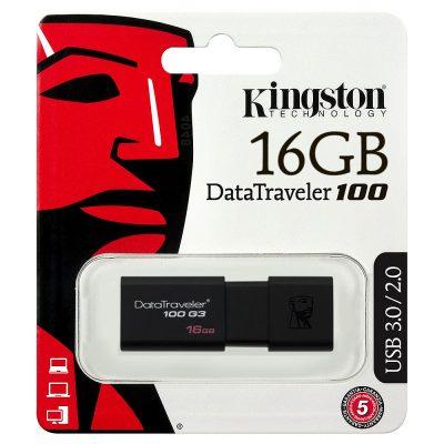 Flash Drive Kingston DT100 G3, 16GB, USB3.0, Negru