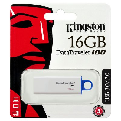 Flash Drive Kingston DT100 G4, 16GB, USB3.0, Alb