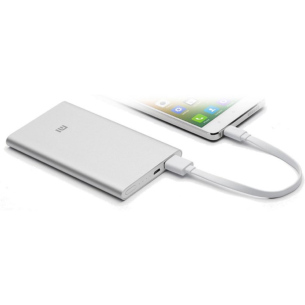 Acumulator Externa Xiaomi Mi PowerBank, 5000 mAh, 2.1A, Argintiu