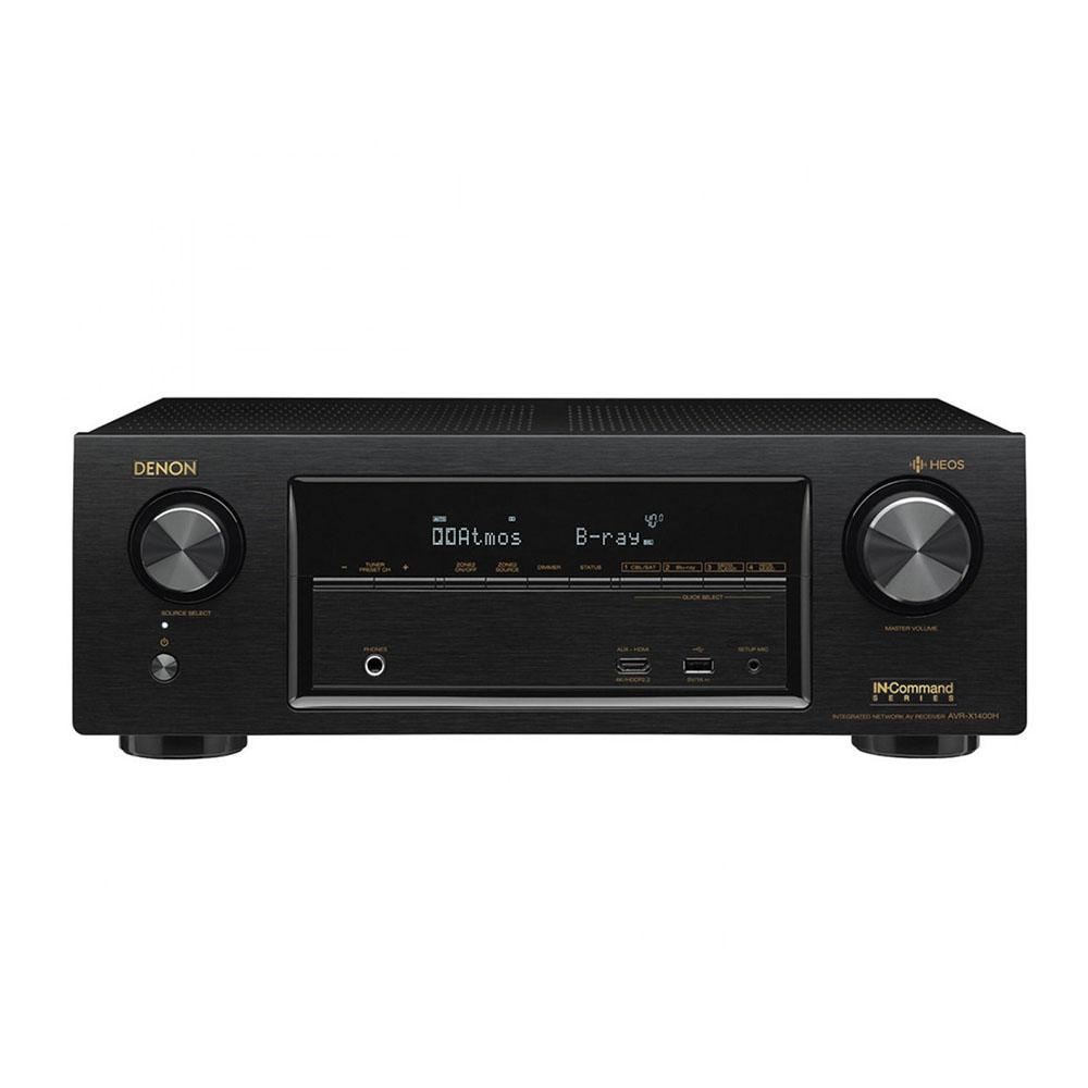 Receiver Denon AVR-X1400H cu HEOS Integrat, Compatibil Dolby Vision, Dolby Atmos, DTSX, WLAN, Bluetooth, 4K/60Hz, 7 x 145 W, Negru