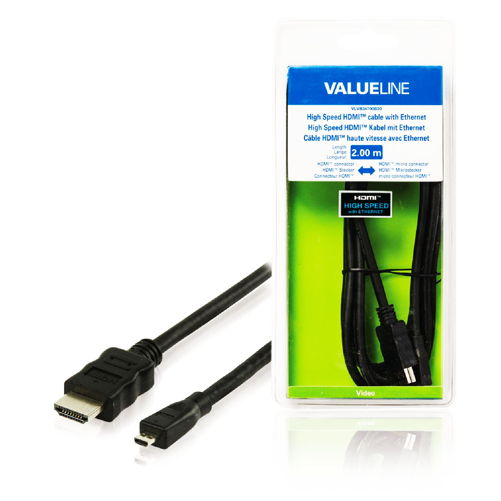 Cablu HDMI-Micro HDMI, Etnernet, 3D, 4K, , 2M, ValueLine VLVB34700B20