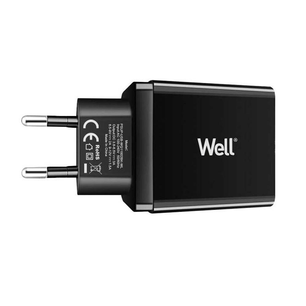 Alimentator USB Well PSUP-USB-WQ11802BK-WL QuickCharge3.0 18W