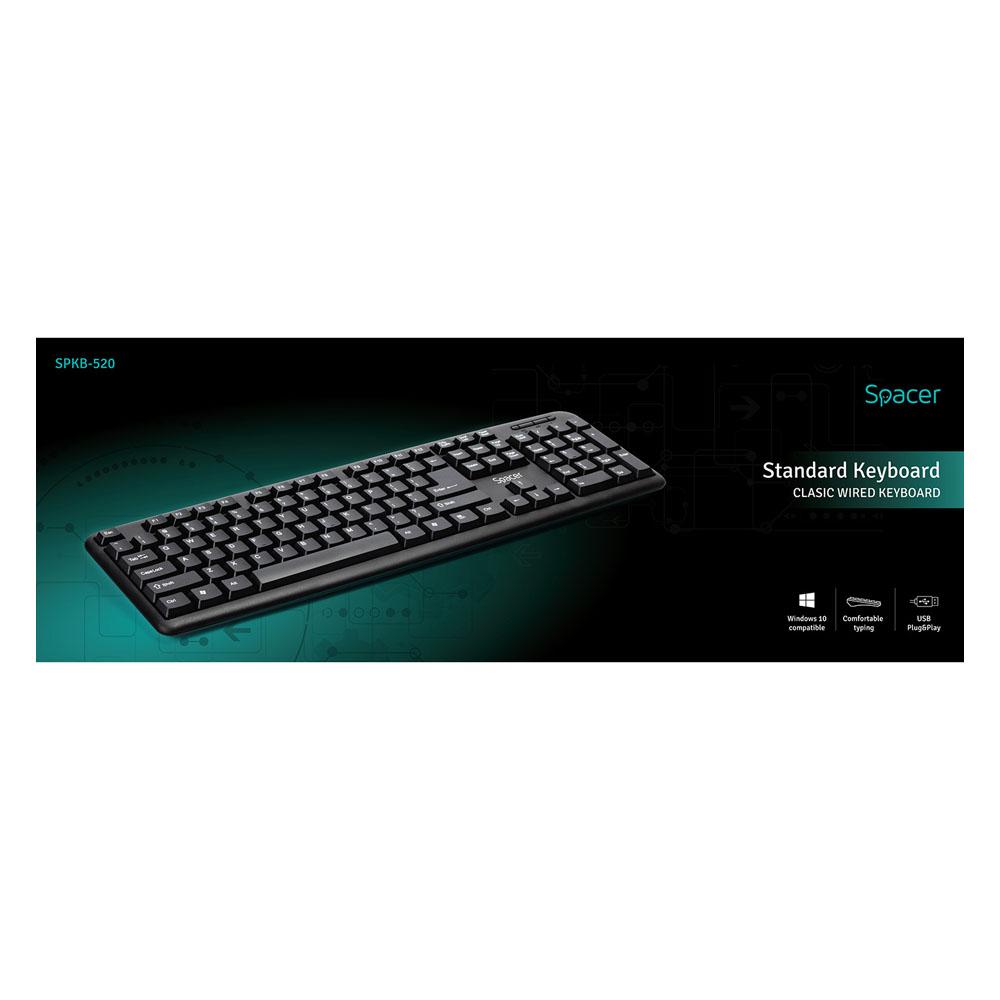 Tastatura Cu Fir Spacer SPKB-520 USB